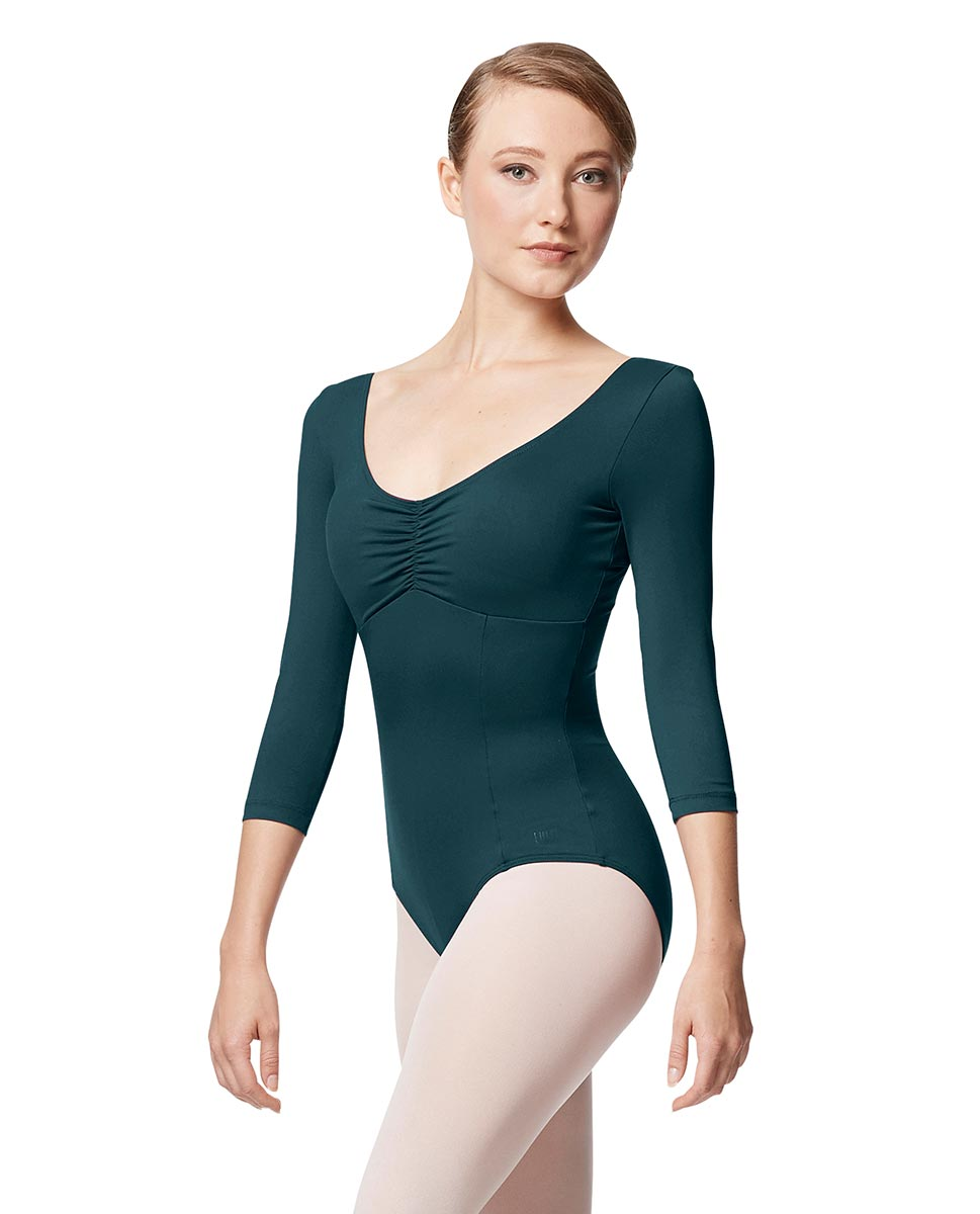 Pinch Front Long Sleeve with Bra Pockets Dance Leotard Camellia DTEAL