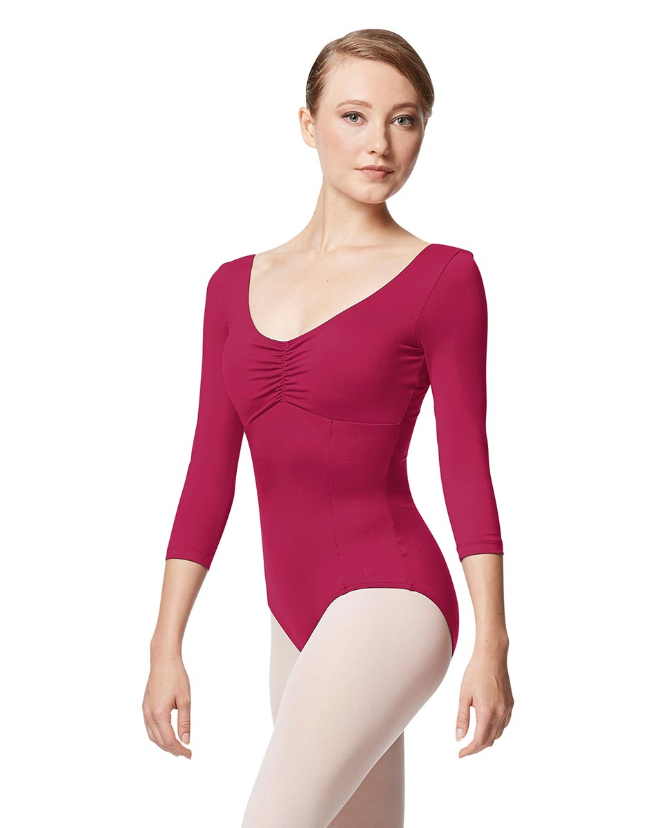 Pinch Front Long Sleeve with Bra Pockets Dance Leotard Camellia FUC