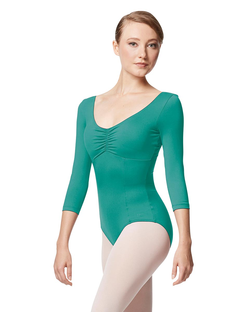 Pinch Front Long Sleeve with Bra Pockets Dance Leotard Camellia JAD