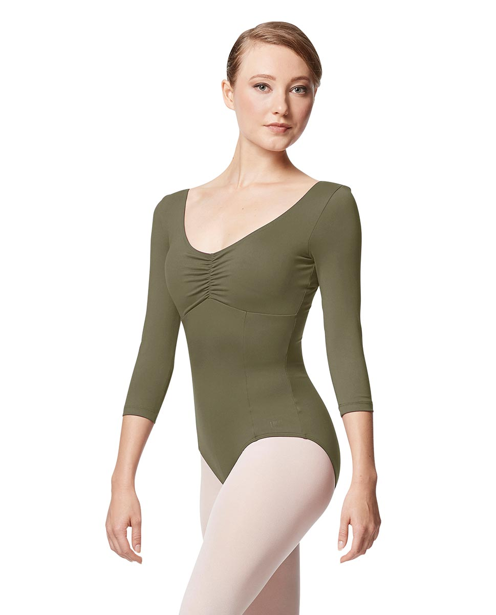 Pinch Front Long Sleeve with Bra Pockets Dance Leotard Camellia KHA