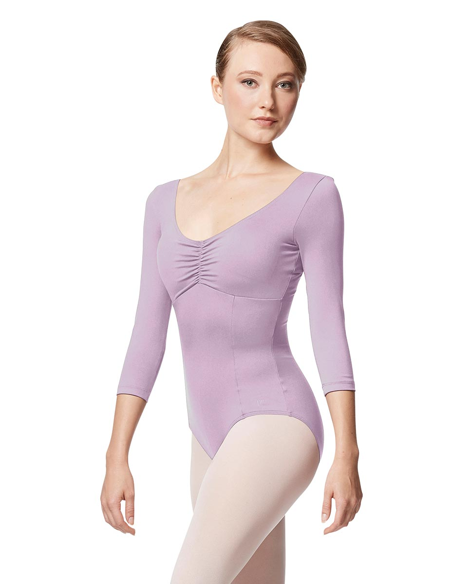 Pinch Front Long Sleeve with Bra Pockets Dance Leotard Camellia LIL