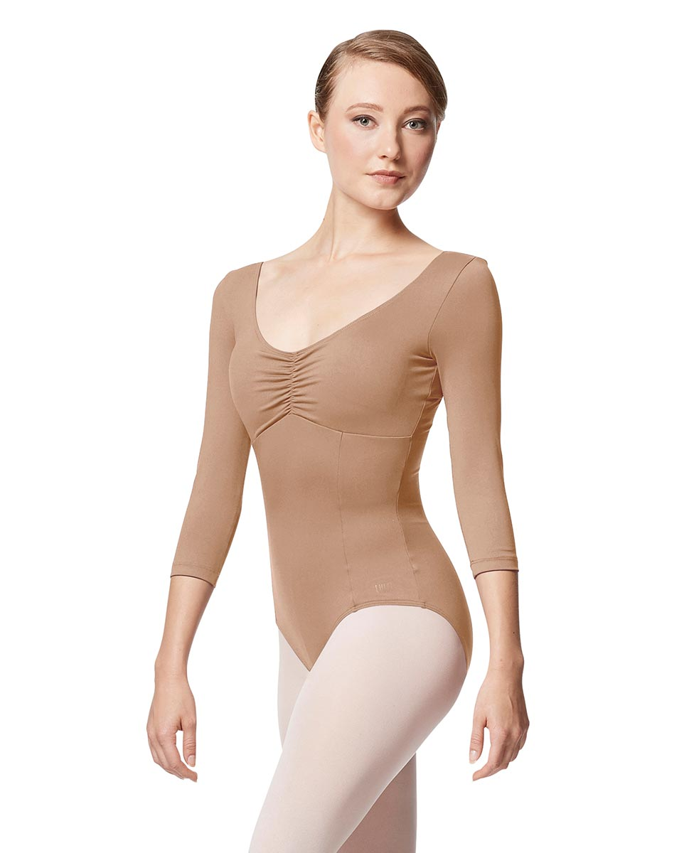 Pinch Front Long Sleeve with Bra Pockets Dance Leotard Camellia NUD