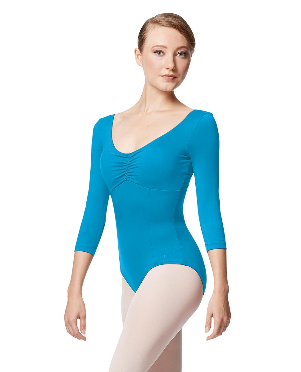 Pinch Front Long Sleeve with Bra Pockets Dance Leotard Camellia TUR