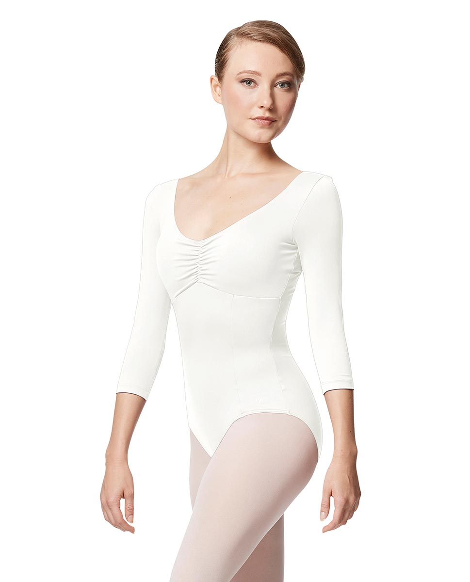 Pinch Front Long Sleeve with Bra Pockets Dance Leotard Camellia WHI