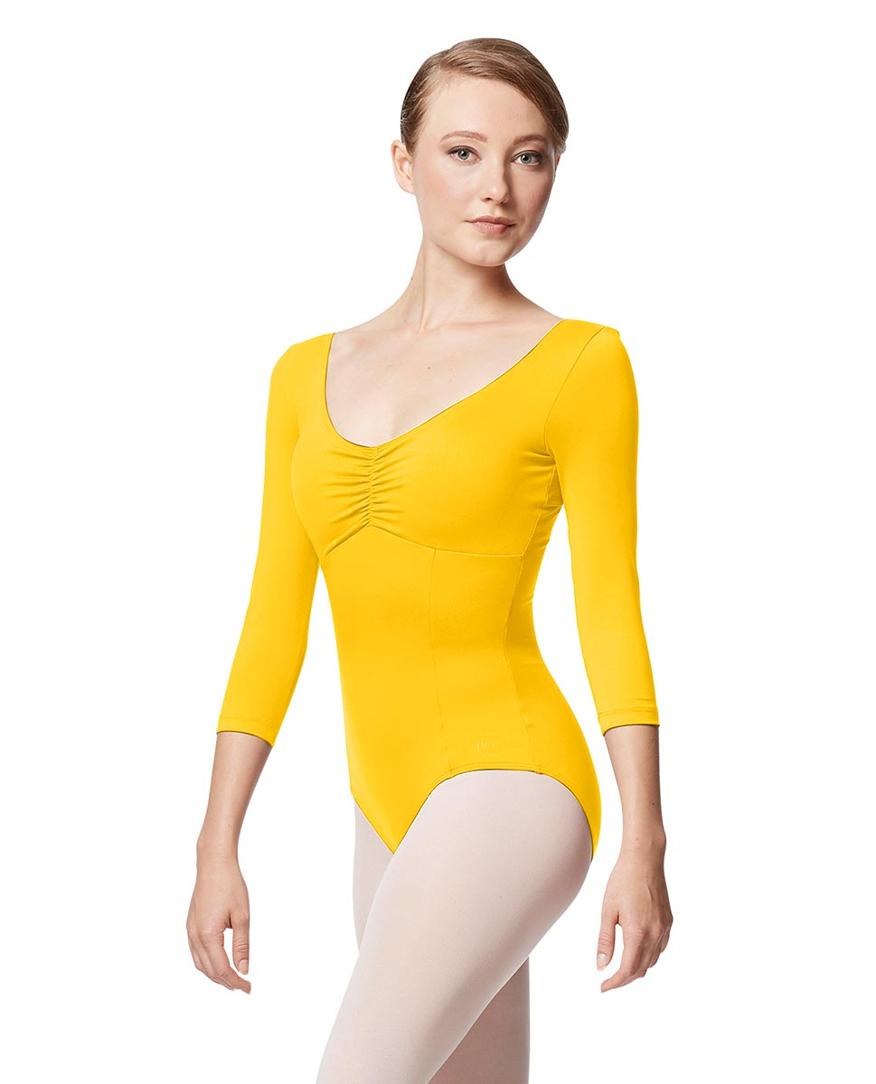 Pinch Front Long Sleeve with Bra Pockets Dance Leotard Camellia YEL
