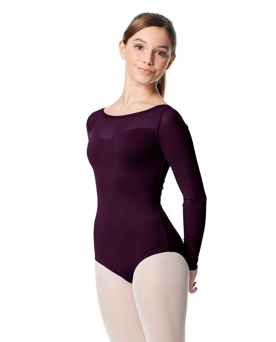 Girls Yoke Mesh Long Sleeve Dance Leotard Lada AUB