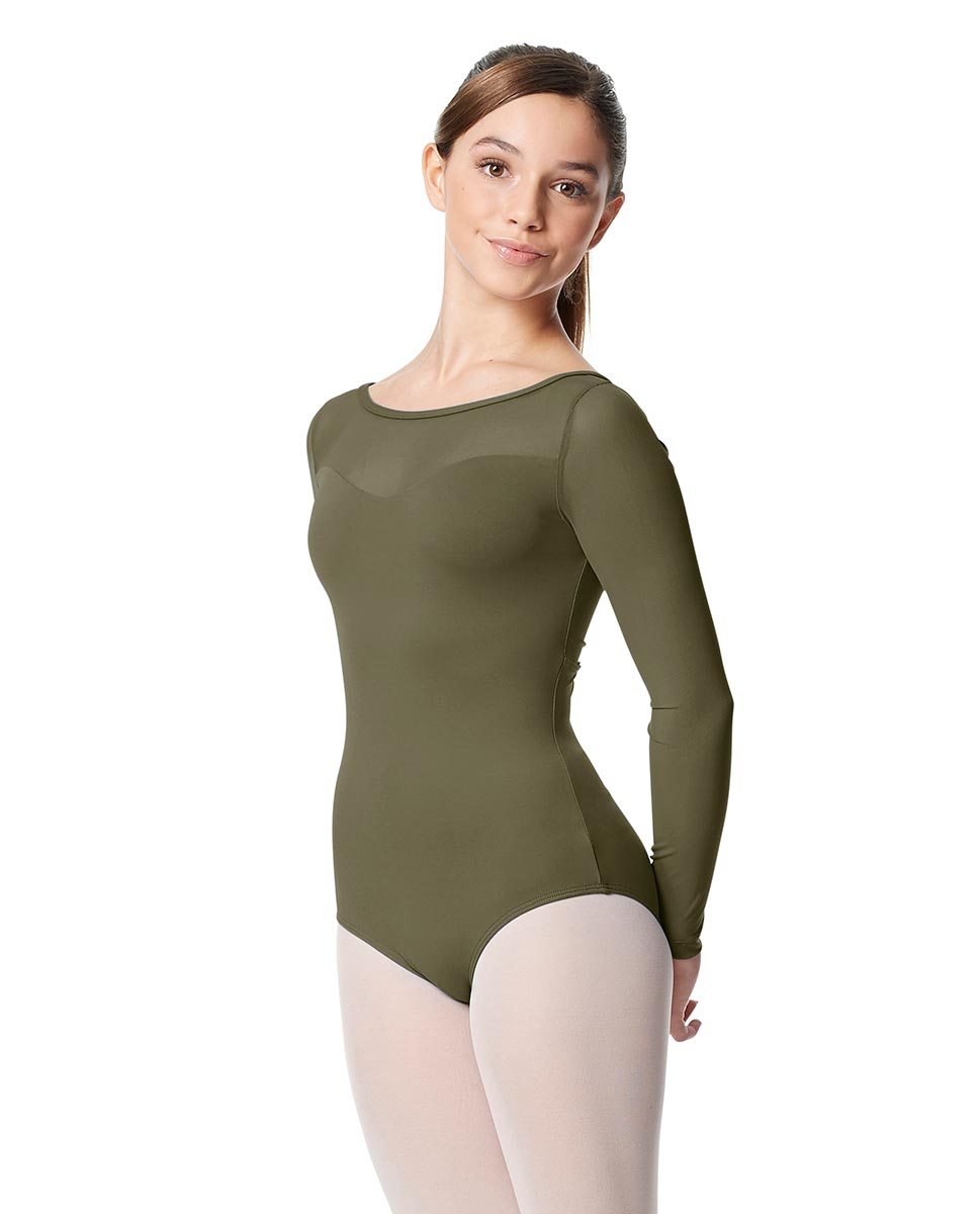 Girls Yoke Mesh Long Sleeve Dance Leotard Lada KHA