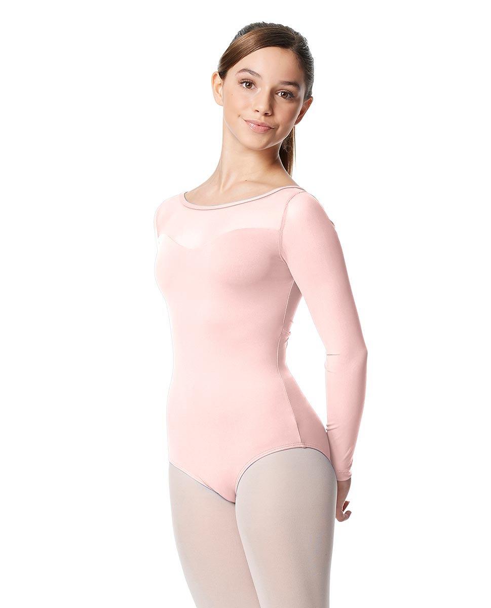 Girls Yoke Mesh Long Sleeve Dance Leotard Lada LPNK