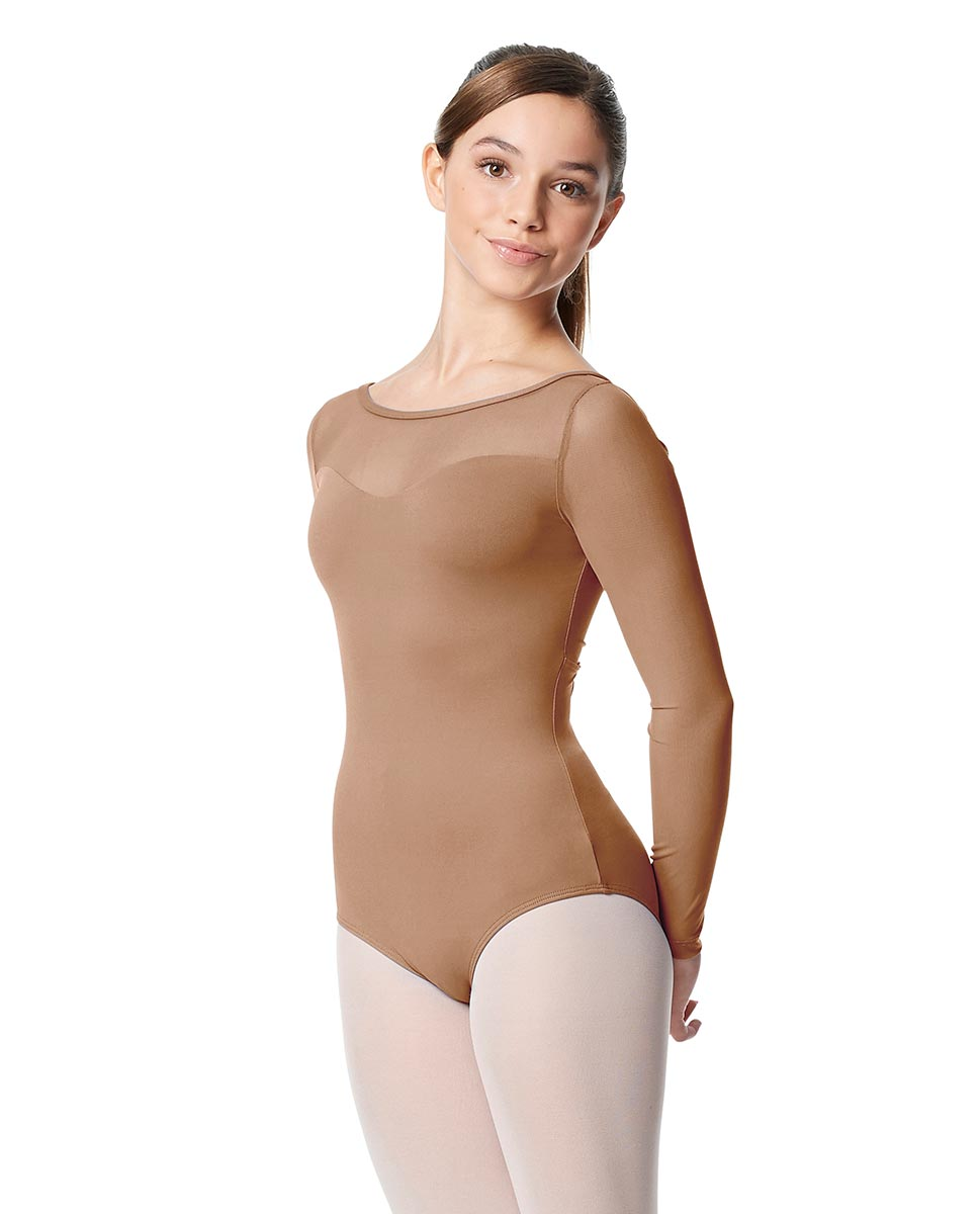 Girls Yoke Mesh Long Sleeve Dance Leotard Lada NUD
