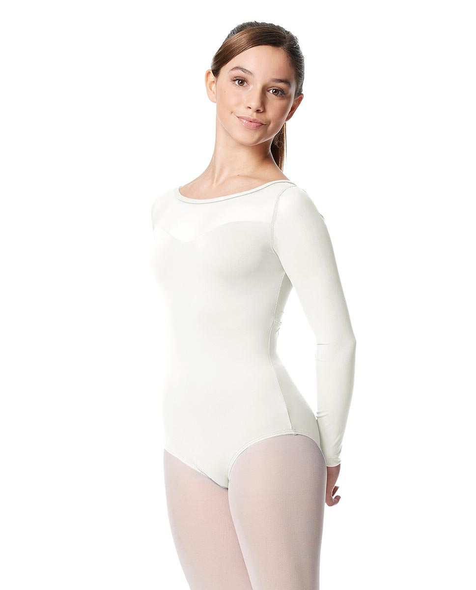 Girls Yoke Mesh Long Sleeve Dance Leotard Lada WHI