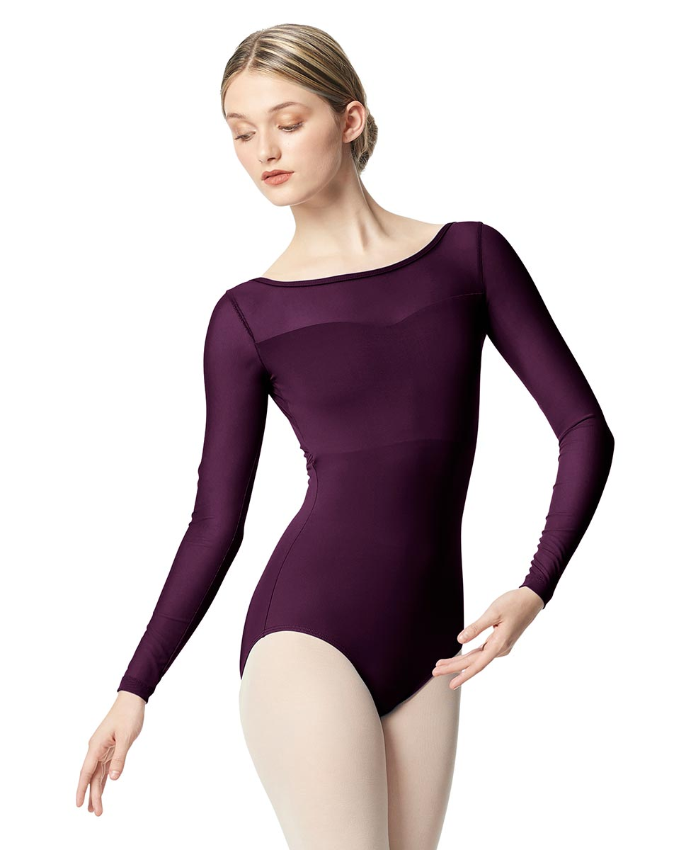 Women Yoke Mesh Long Sleeve Dance Leotard Lada AUB