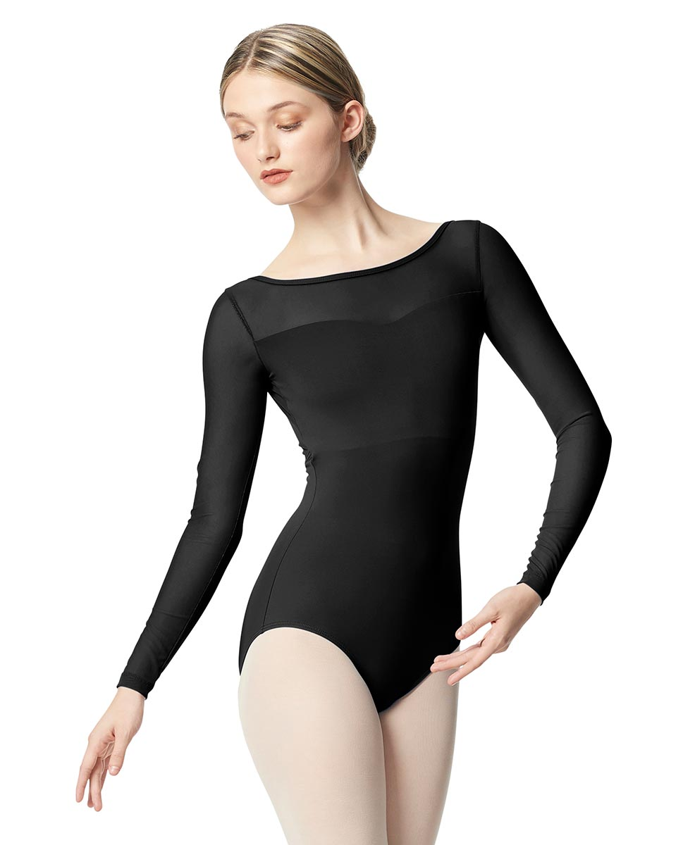 Women Yoke Mesh Long Sleeve Dance Leotard Lada BLK