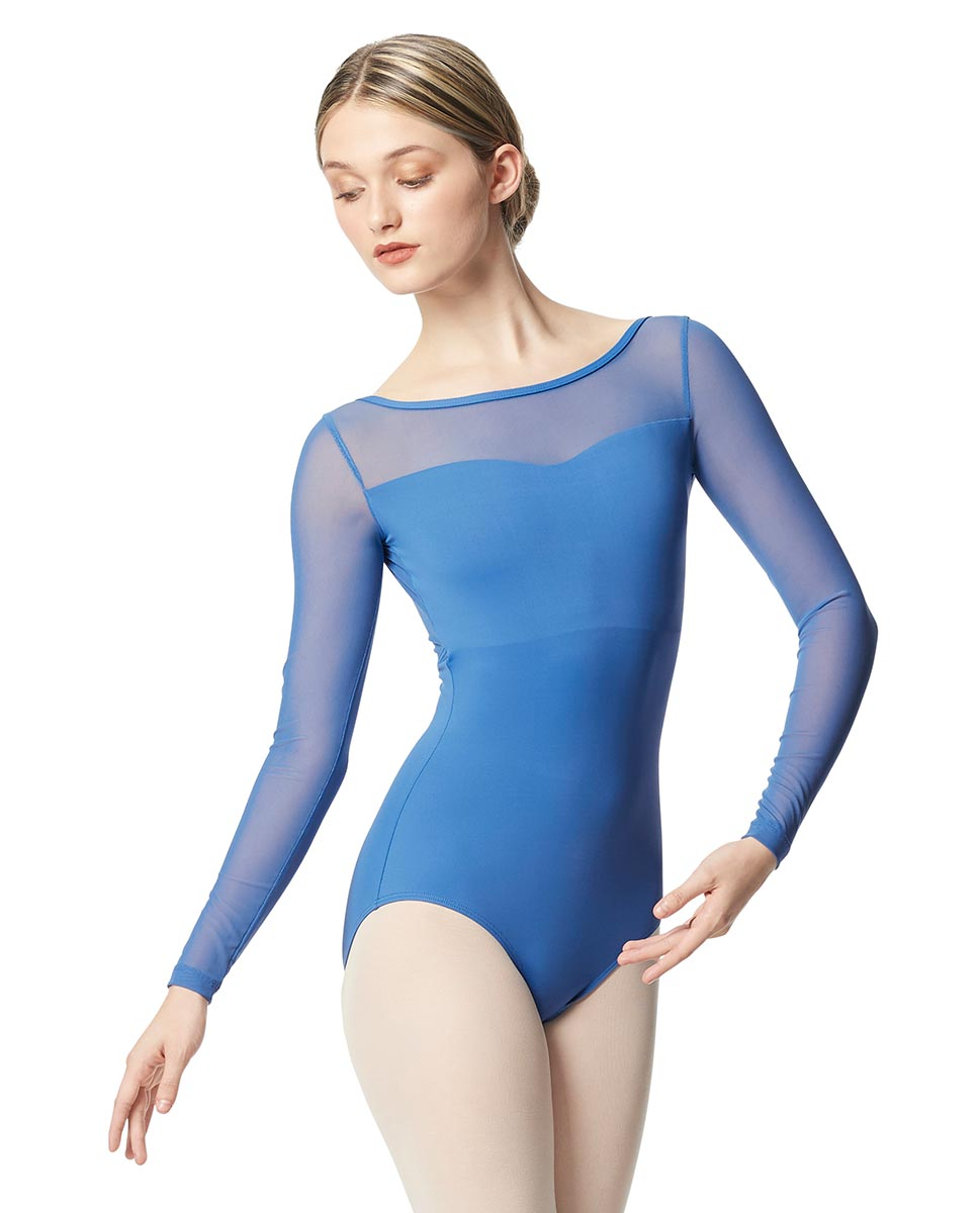 Women Yoke Mesh Long Sleeve Dance Leotard Lada BLUE