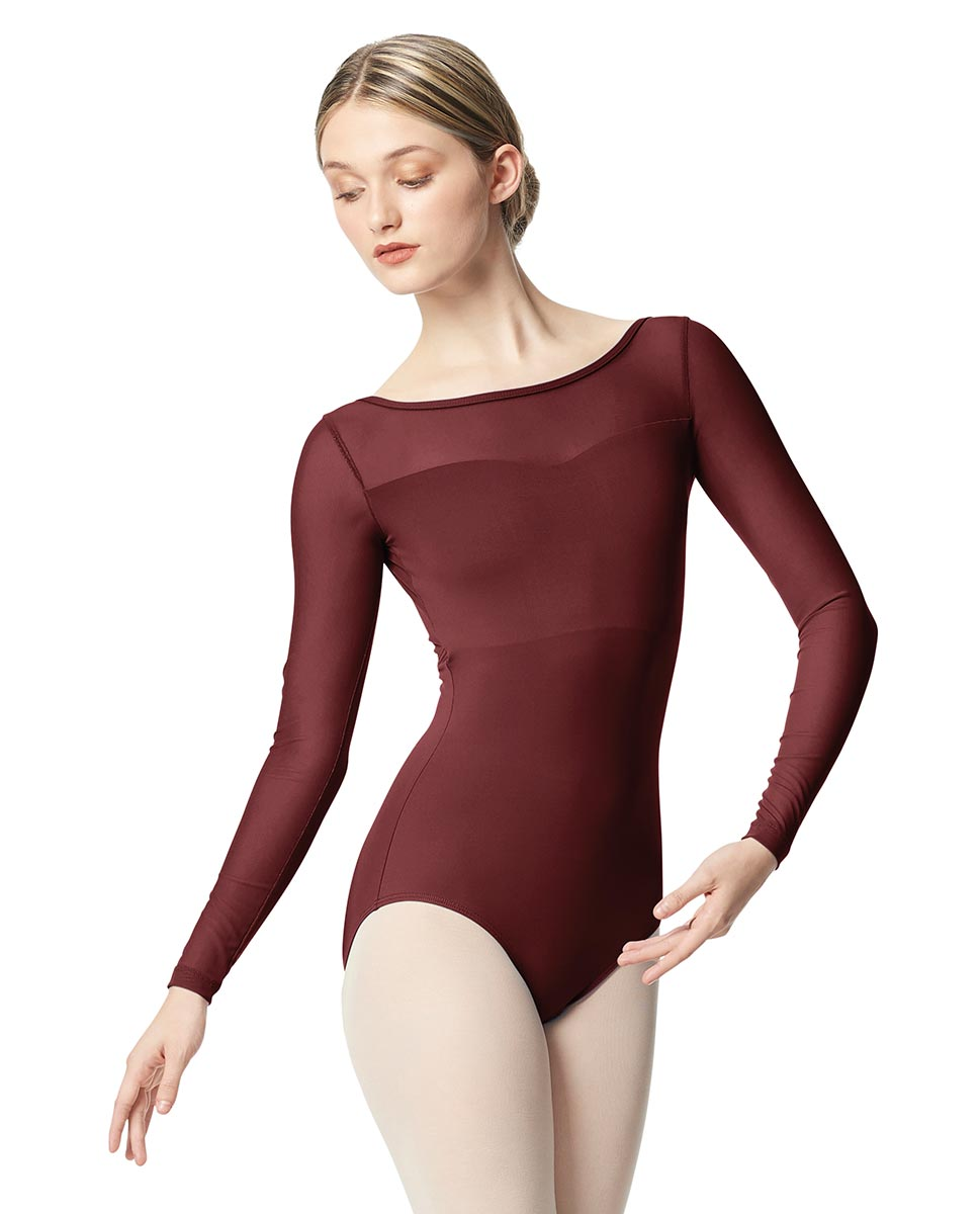 Women Yoke Mesh Long Sleeve Dance Leotard Lada BUR