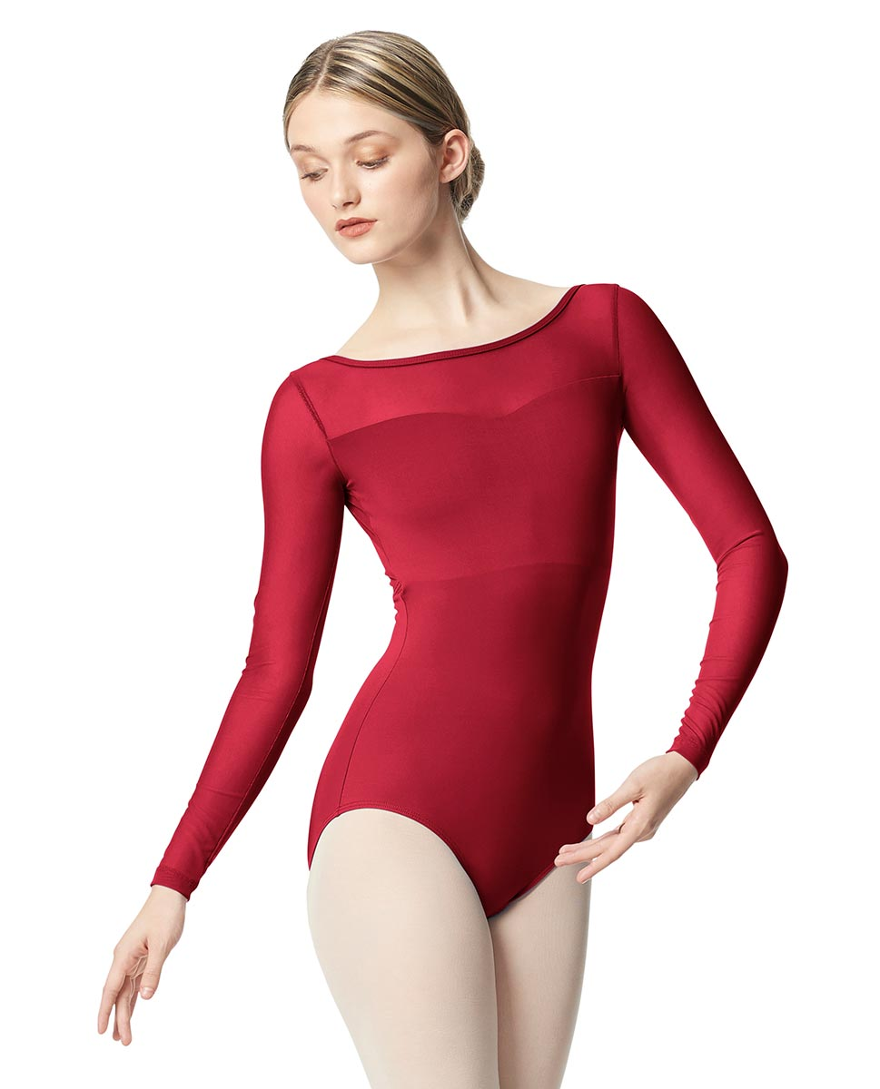 Women Yoke Mesh Long Sleeve Dance Leotard Lada DRED