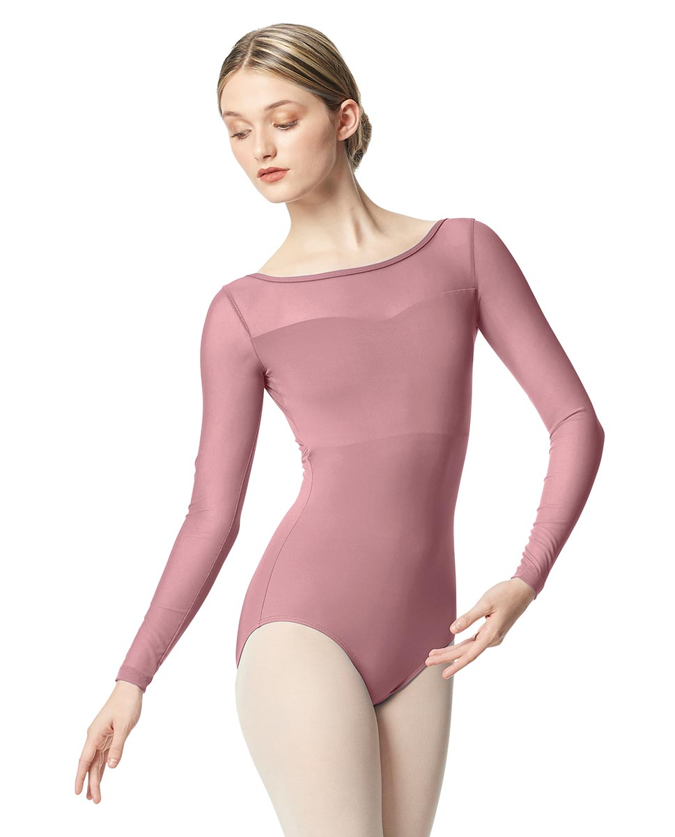 Women Yoke Mesh Long Sleeve Dance Leotard Lada DROS