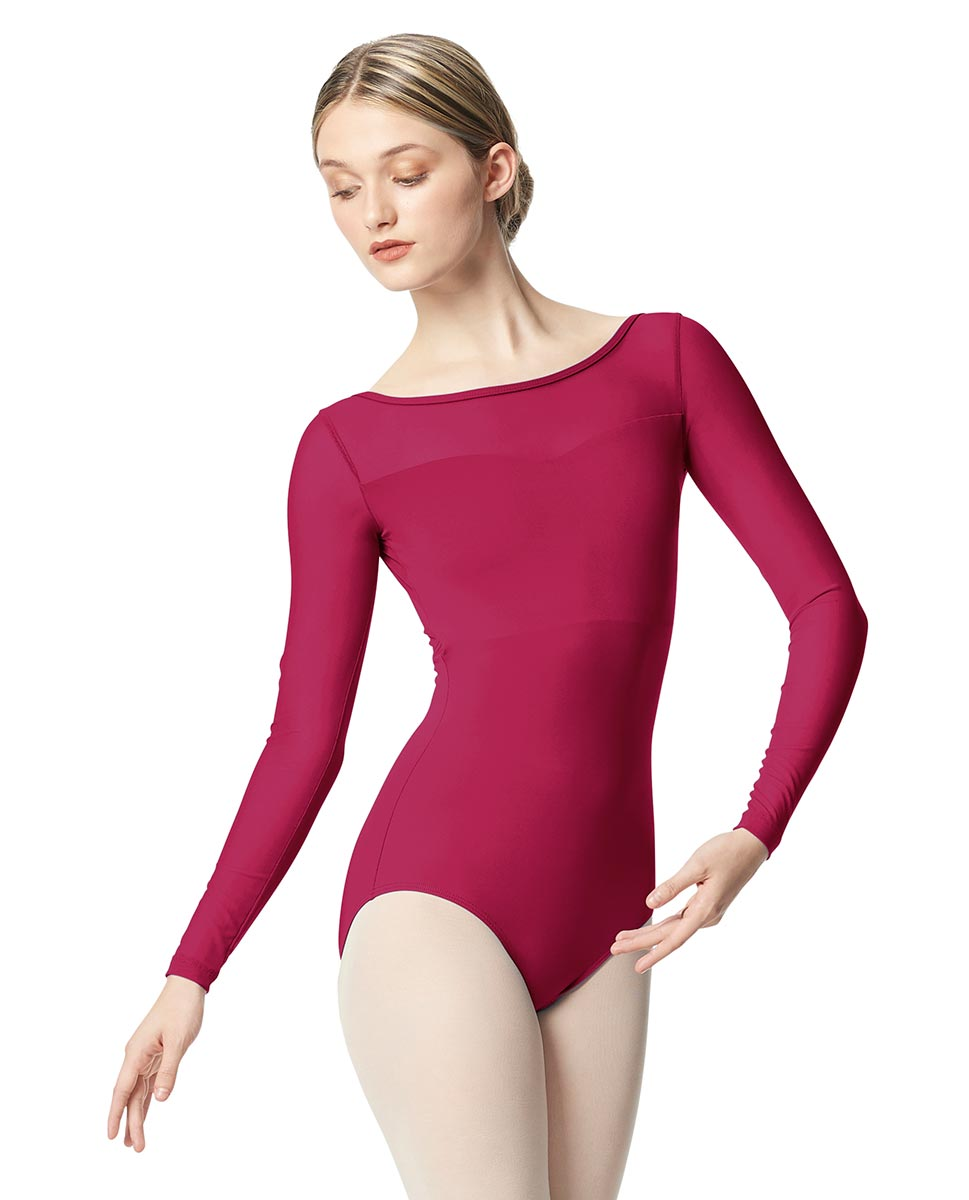 Women Yoke Mesh Long Sleeve Dance Leotard Lada FUC