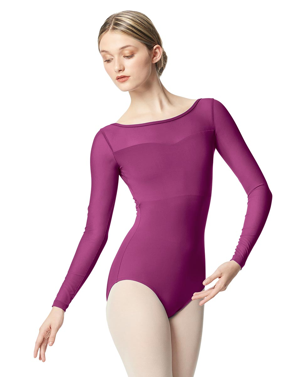 Women Yoke Mesh Long Sleeve Dance Leotard Lada GRAP