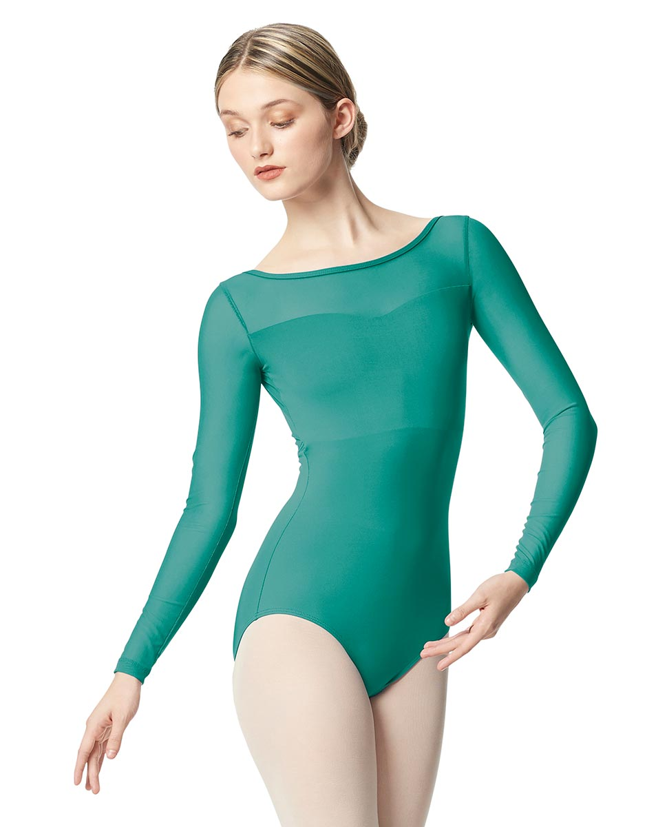 Women Yoke Mesh Long Sleeve Dance Leotard Lada JAD