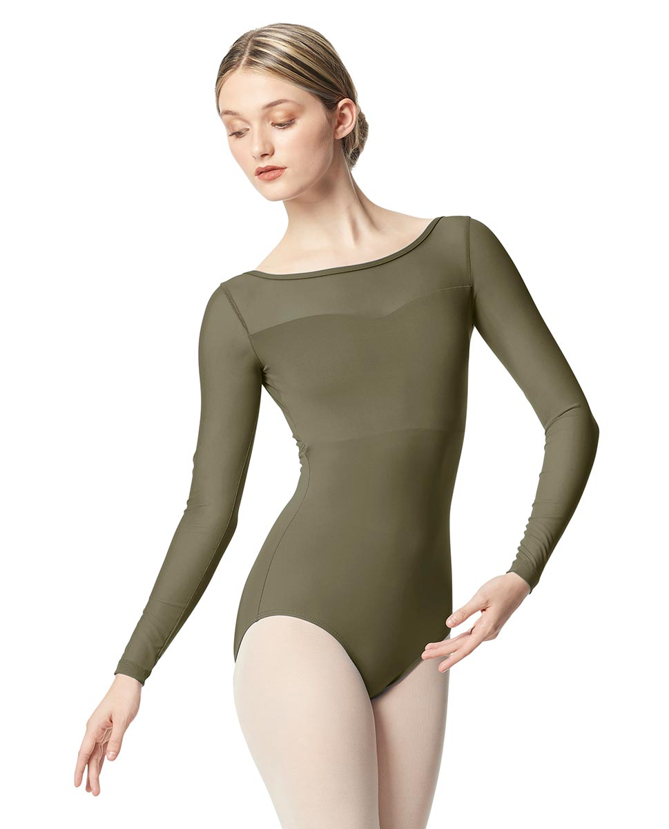 Women Yoke Mesh Long Sleeve Dance Leotard Lada KHA
