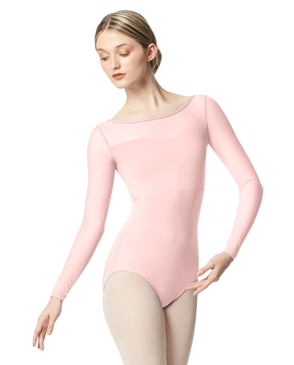 Women Yoke Mesh Long Sleeve Dance Leotard Lada LPNK