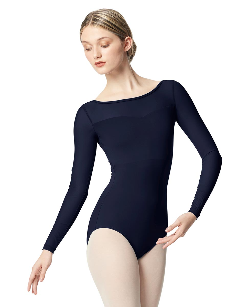 Women Yoke Mesh Long Sleeve Dance Leotard Lada NAY