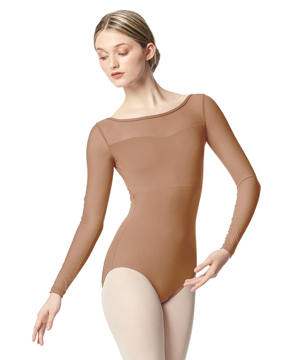 Women Yoke Mesh Long Sleeve Dance Leotard Lada NUD