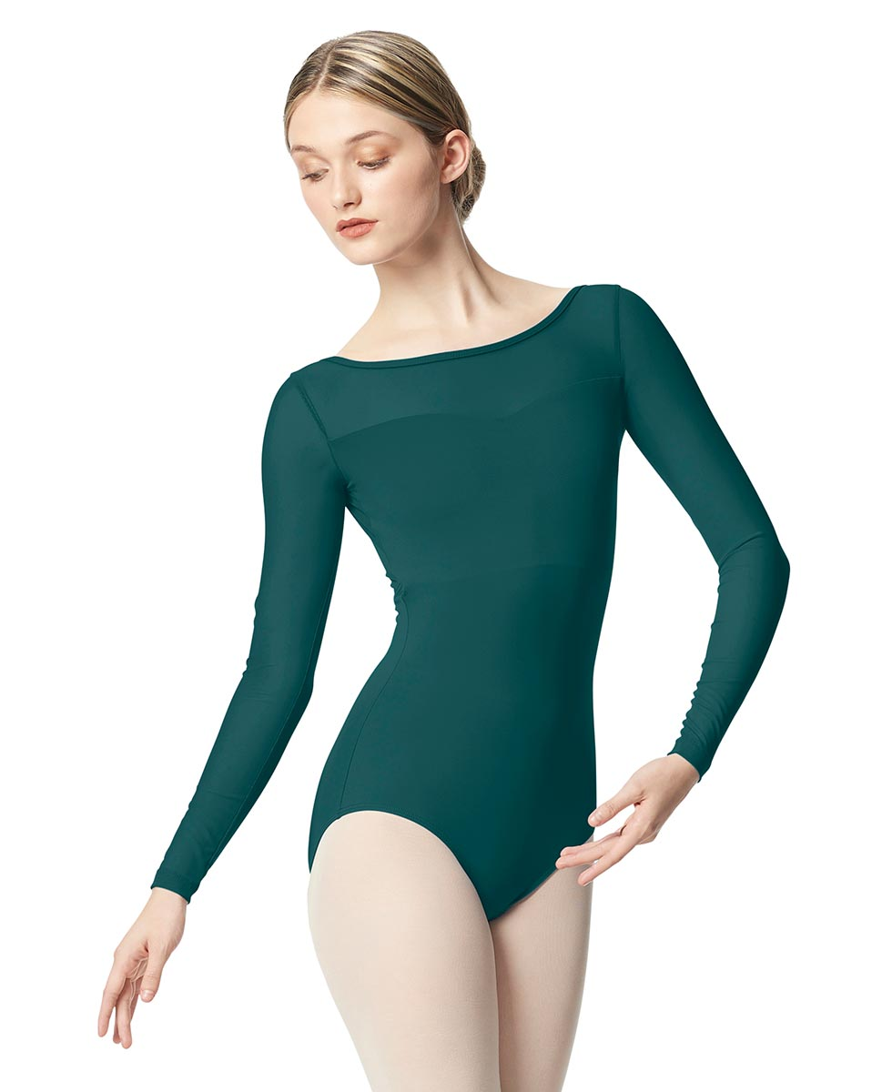 Women Yoke Mesh Long Sleeve Dance Leotard Lada TEA