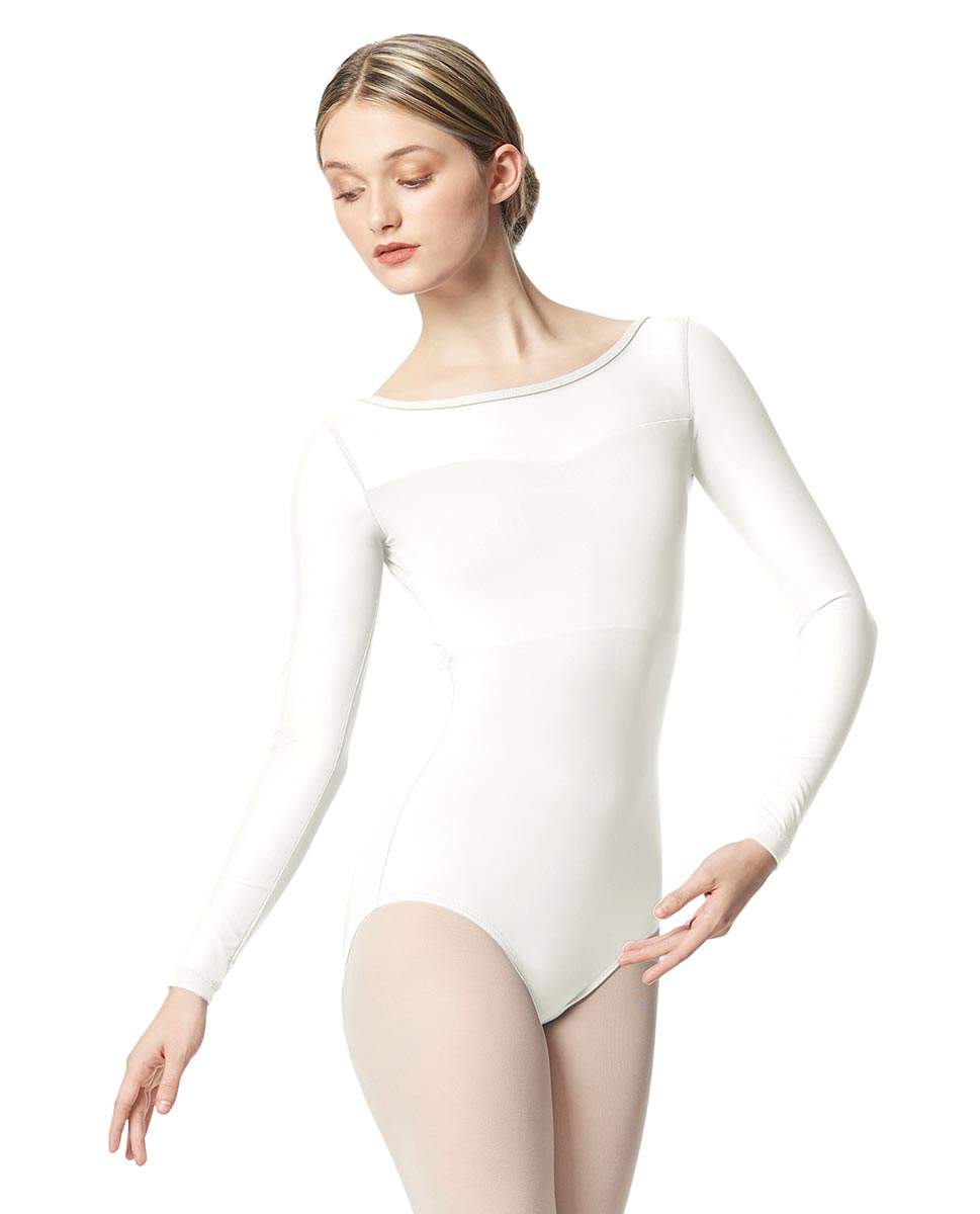 Women Yoke Mesh Long Sleeve Dance Leotard Lada WHI