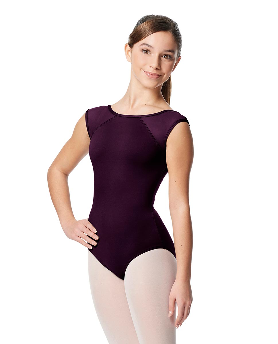 Girls Yoke Mesh Cap Sleeve Dance Leotard Nikita AUB