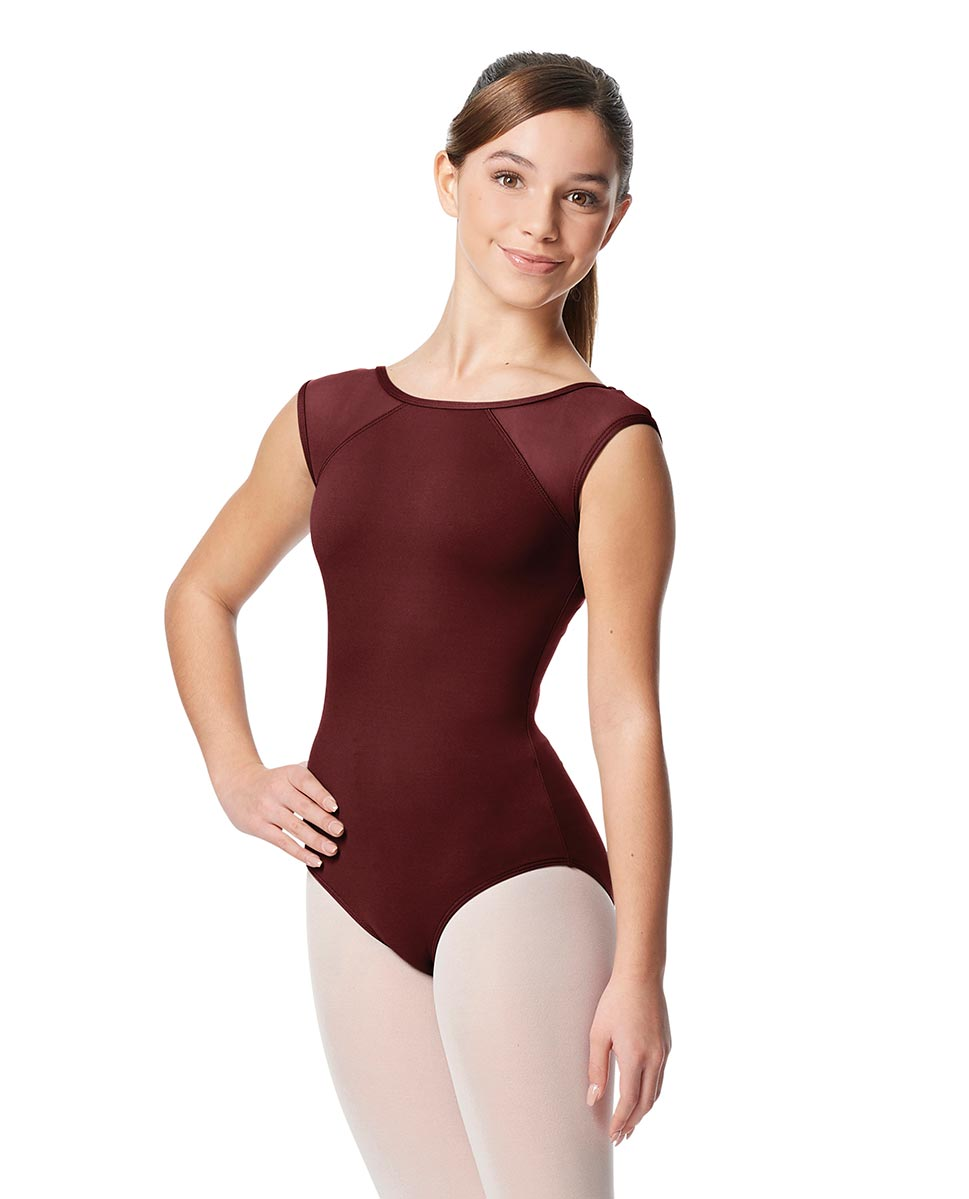 Girls Yoke Mesh Cap Sleeve Dance Leotard Nikita BUR