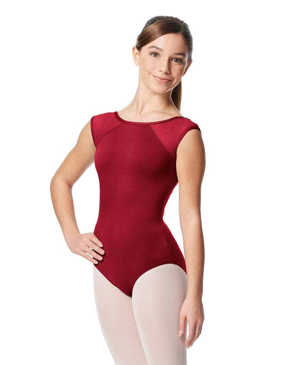Girls Yoke Mesh Cap Sleeve Dance Leotard Nikita DRED