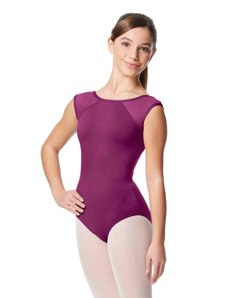 Girls Yoke Mesh Cap Sleeve Dance Leotard Nikita GRAP