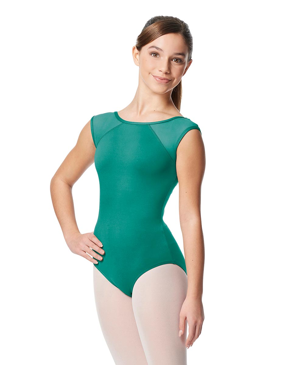 Girls Yoke Mesh Cap Sleeve Dance Leotard Nikita JAD