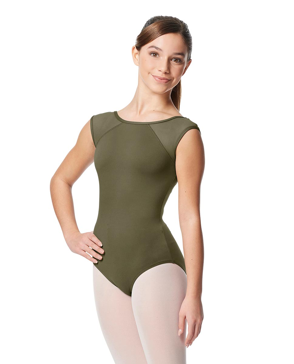 Girls Yoke Mesh Cap Sleeve Dance Leotard Nikita KHA