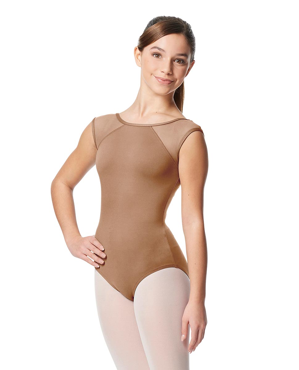 Girls Yoke Mesh Cap Sleeve Dance Leotard Nikita NUD