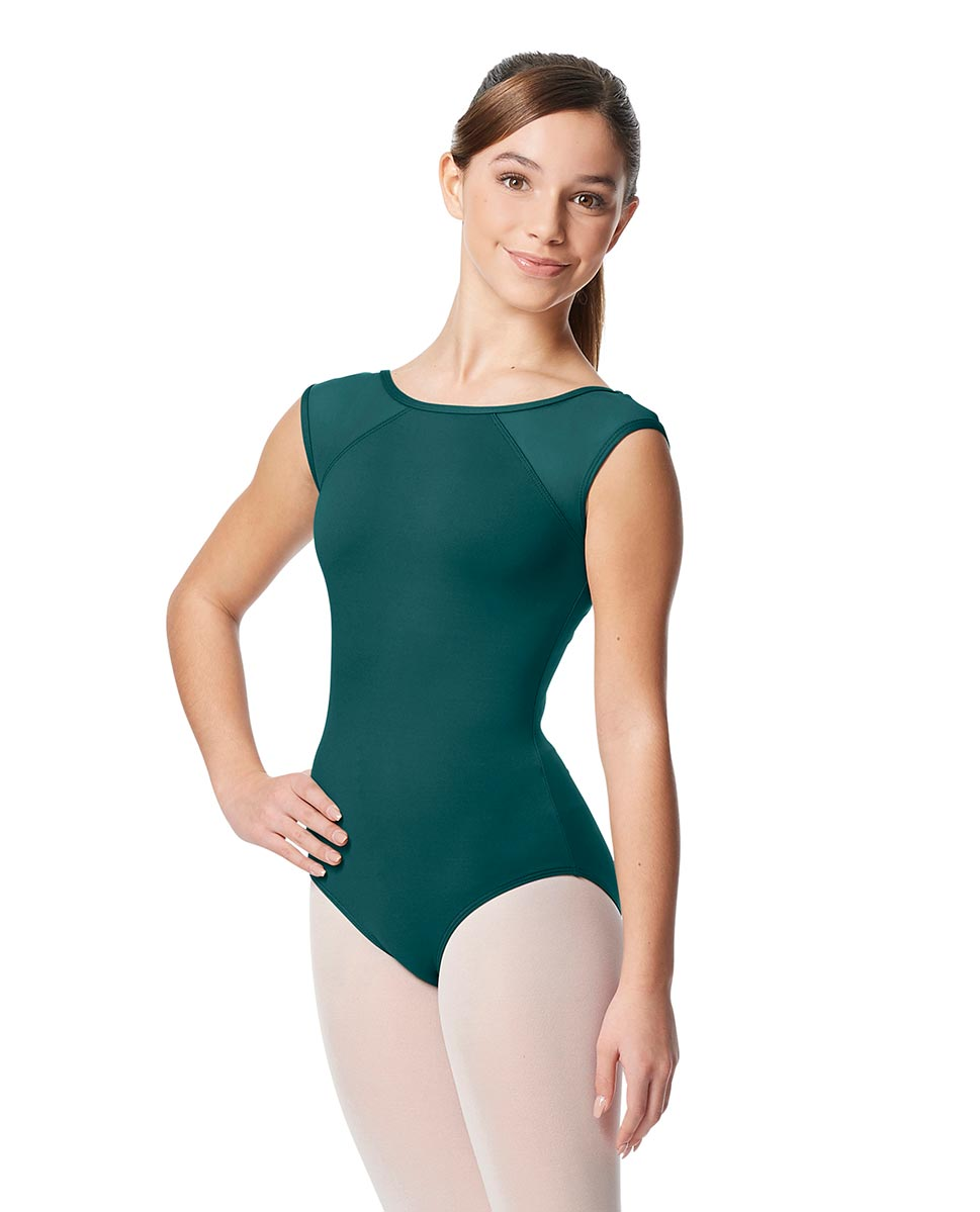 Girls Yoke Mesh Cap Sleeve Dance Leotard Nikita TEA