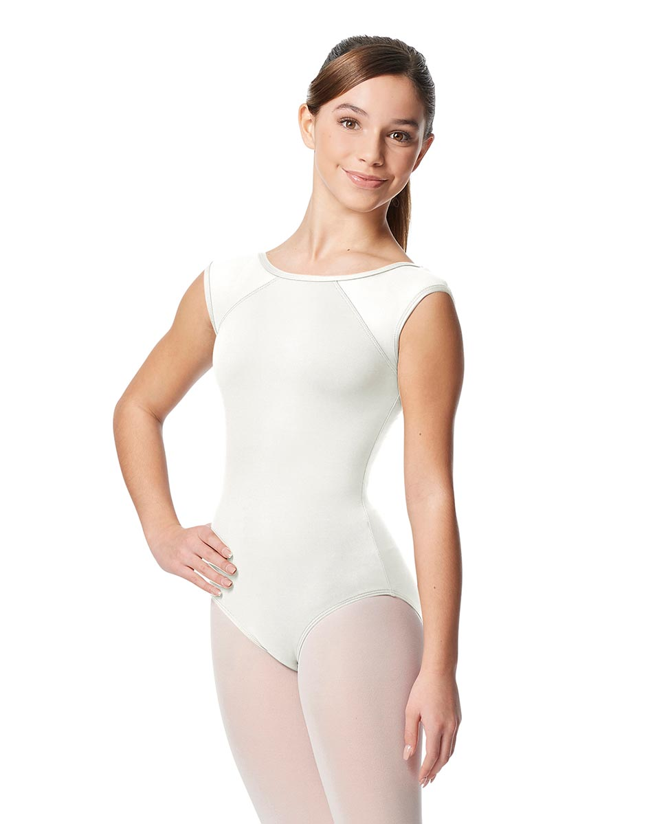 Girls Yoke Mesh Cap Sleeve Dance Leotard Nikita WHI