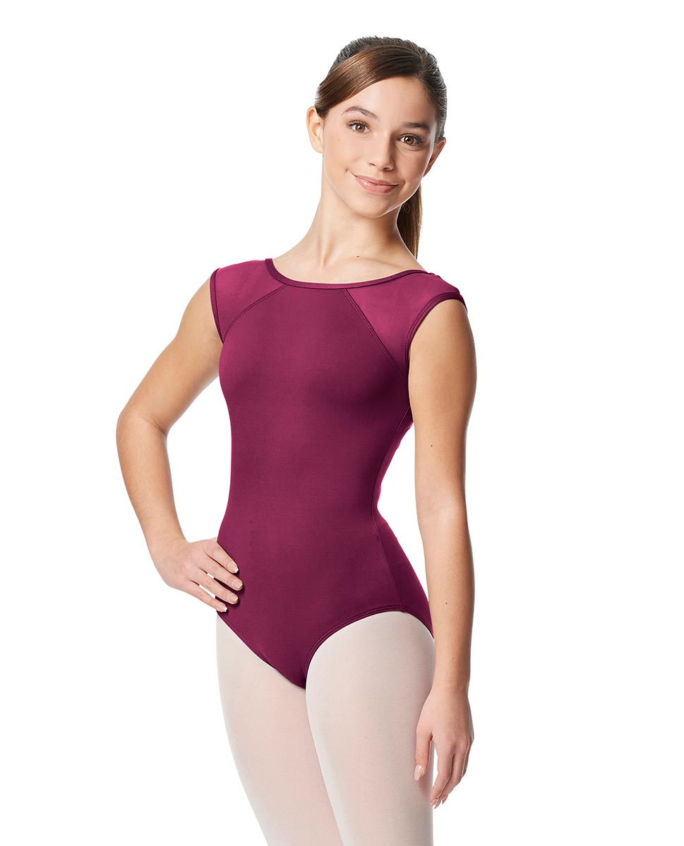 Girls Yoke Mesh Cap Sleeve Dance Leotard Nikita WINE