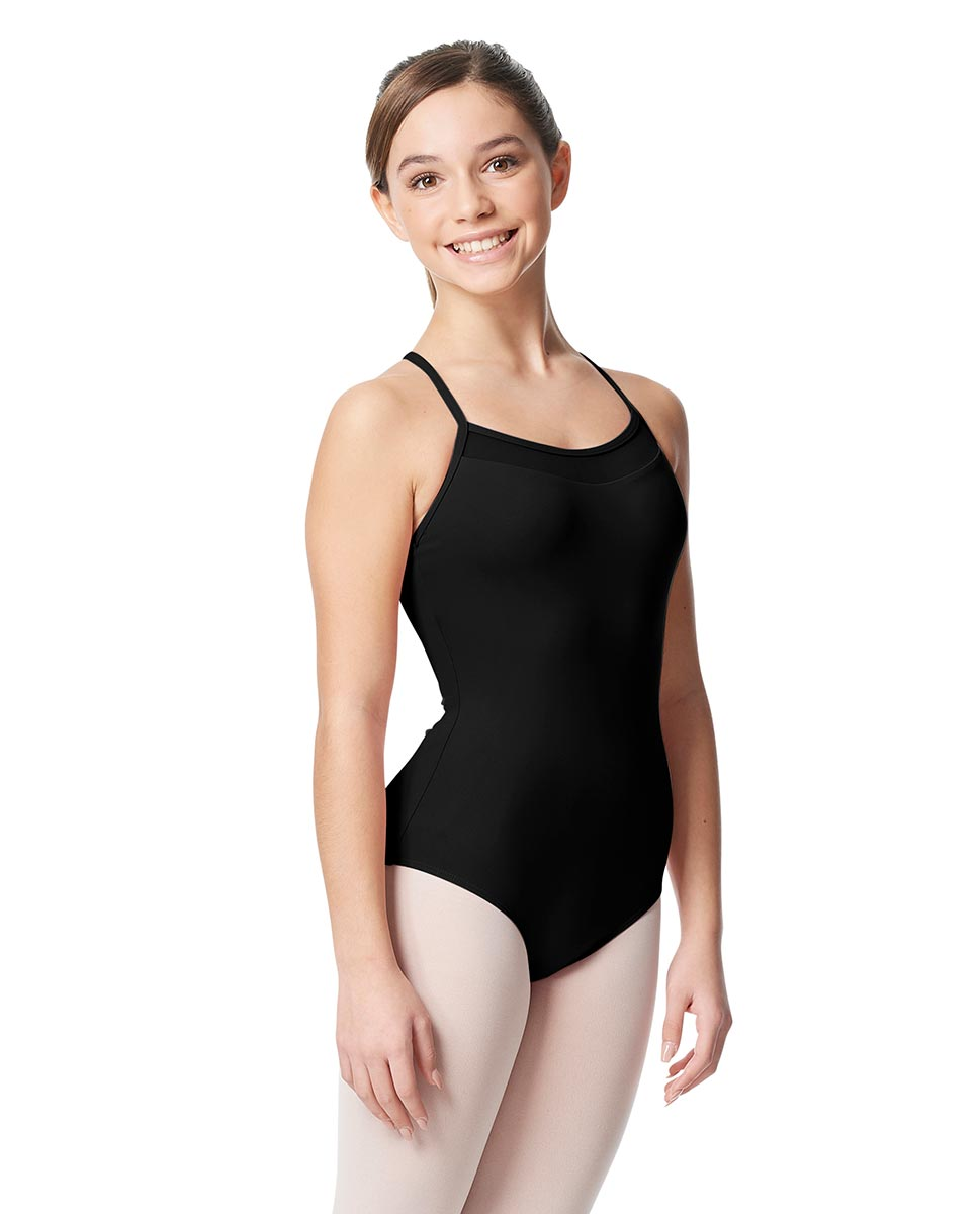 Girls Mesh Yoke Camisole Dance Leotard Zinauda BLK