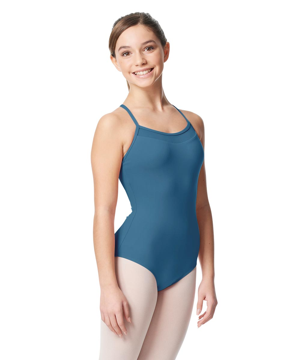 Girls Mesh Yoke Camisole Dance Leotard Zinauda BLUE