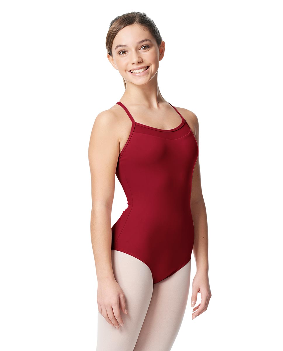 Girls Mesh Yoke Camisole Dance Leotard Zinauda DRED
