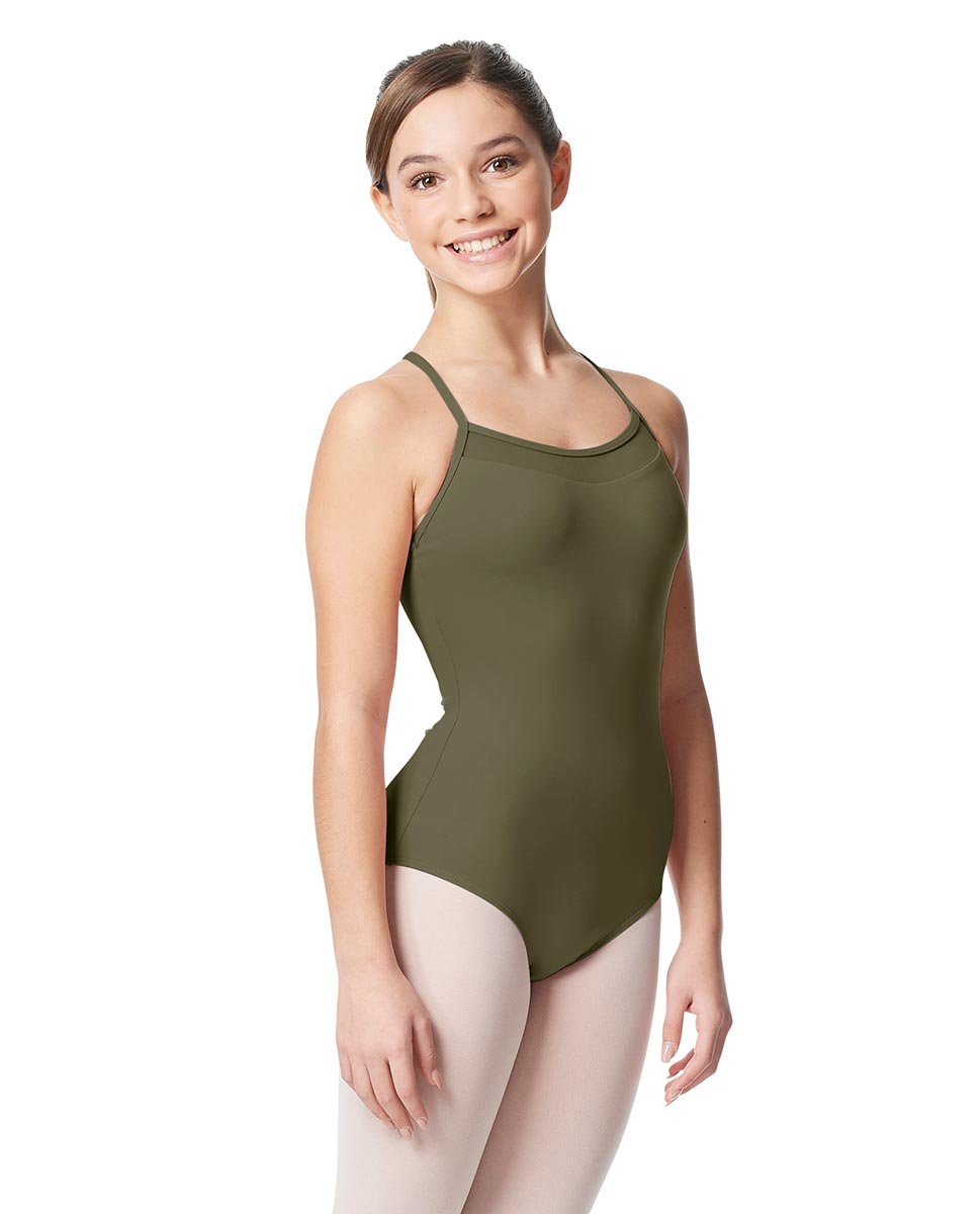 Girls Mesh Yoke Camisole Dance Leotard Zinauda KHA