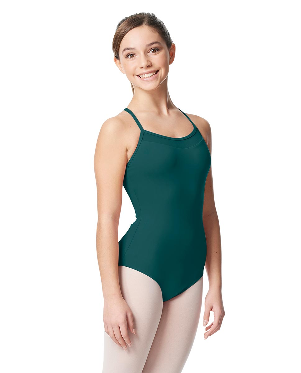 Girls Mesh Yoke Camisole Dance Leotard Zinauda TEA