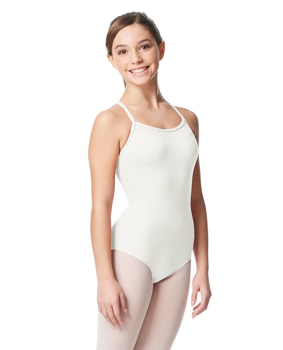 Girls Mesh Yoke Camisole Dance Leotard Zinauda WHI