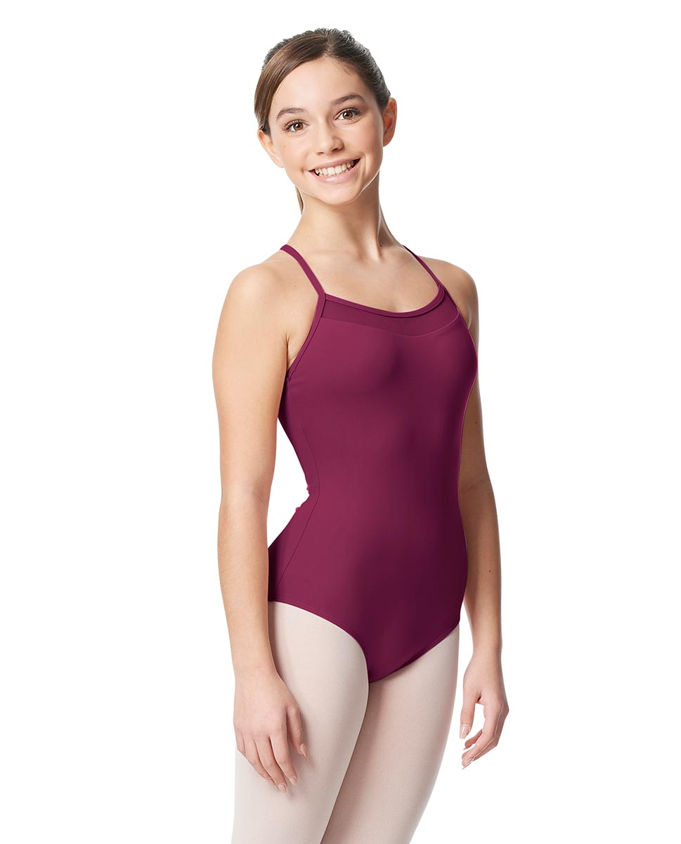 Girls Mesh Yoke Camisole Dance Leotard Zinauda WINE
