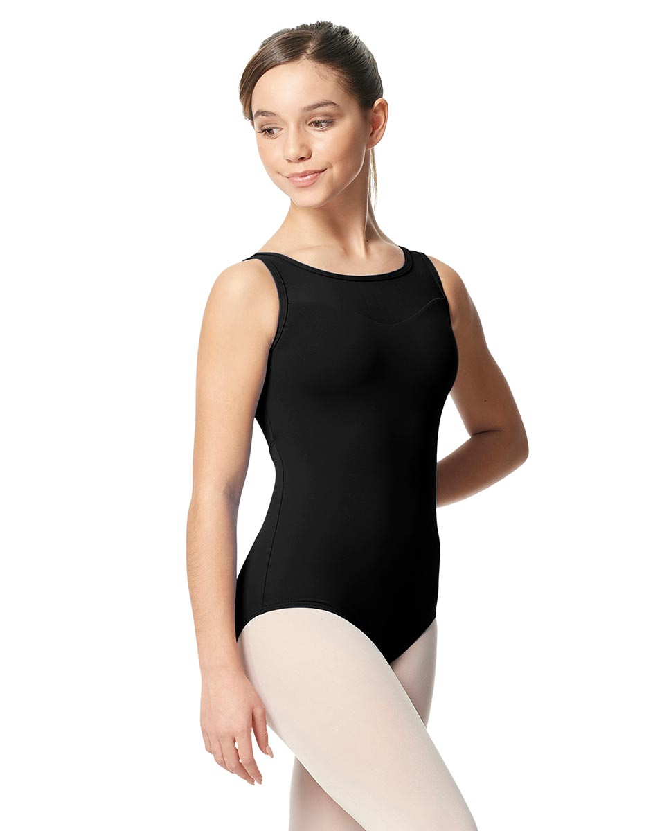 Girls Mesh Yoke Tank Dance Leotard Toma BLK