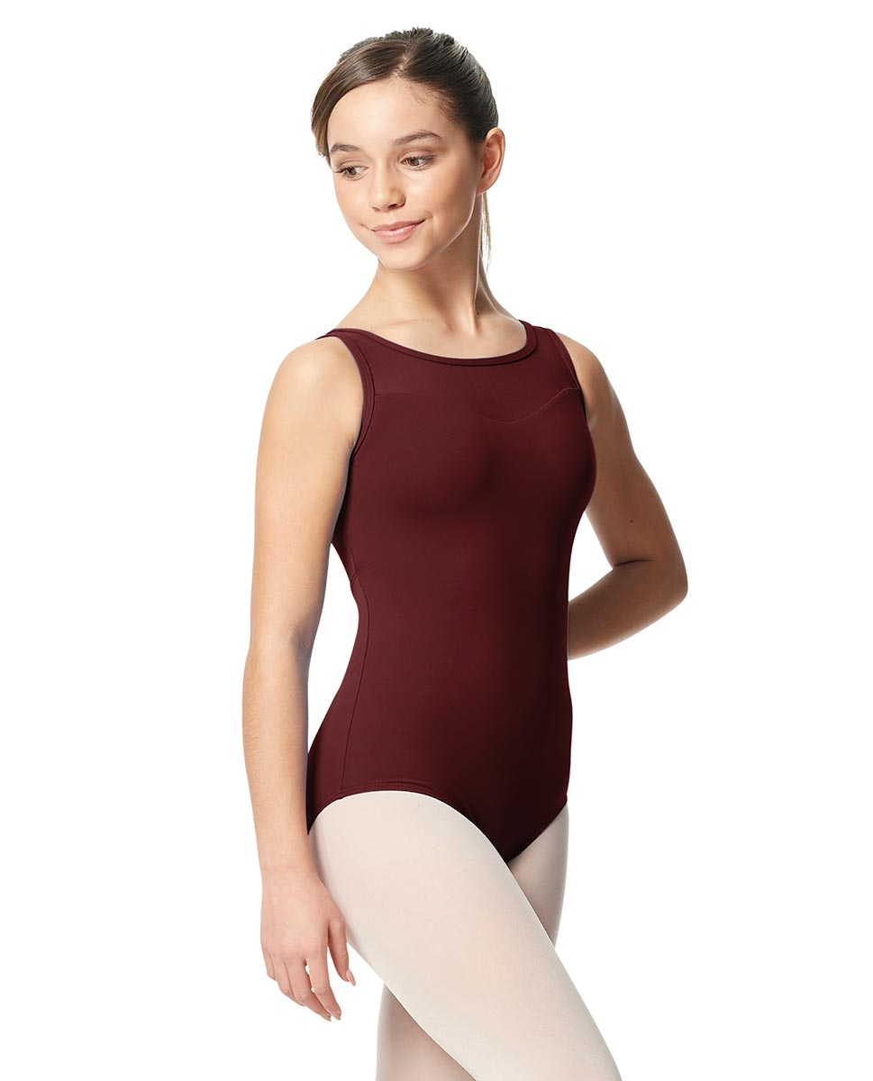 Girls Mesh Yoke Tank Dance Leotard Toma BUR