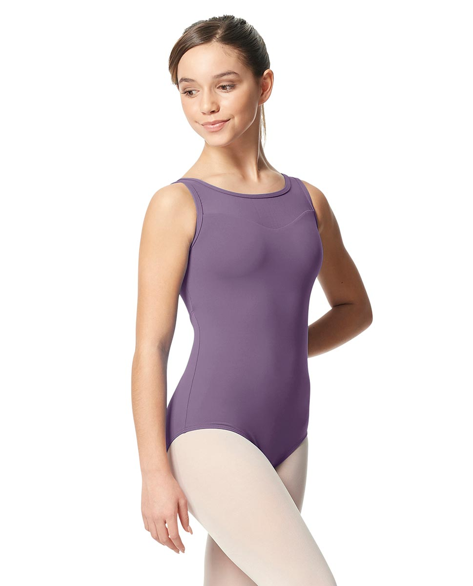 Girls Mesh Yoke Tank Dance Leotard Toma LAV
