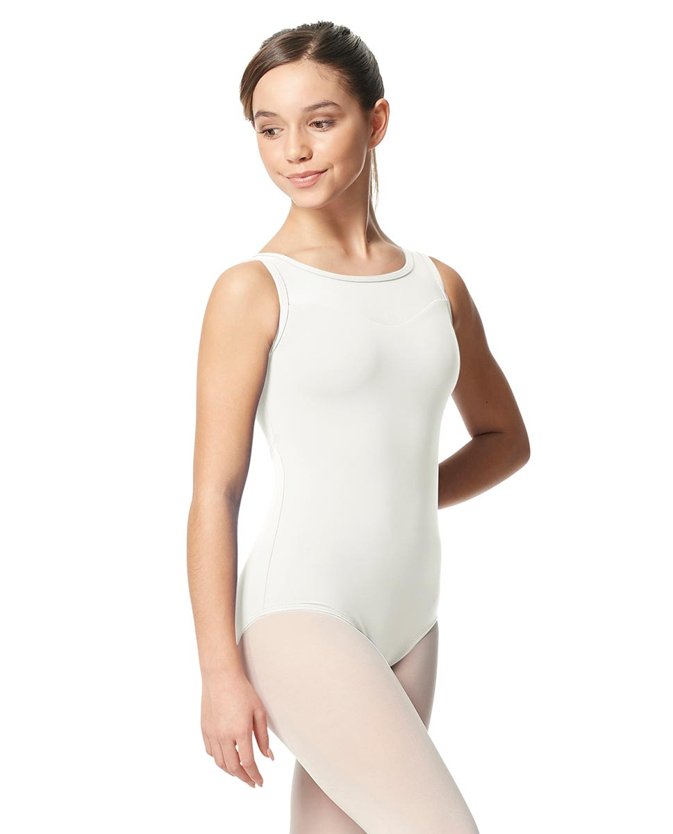 Girls Mesh Yoke Tank Dance Leotard Toma WHI